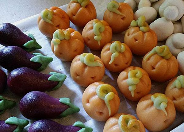 Marsipanfigurer som grönsaker